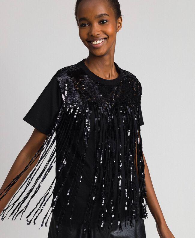 T-shirt avec franges en sequins Noir Femme 192MT2350-01