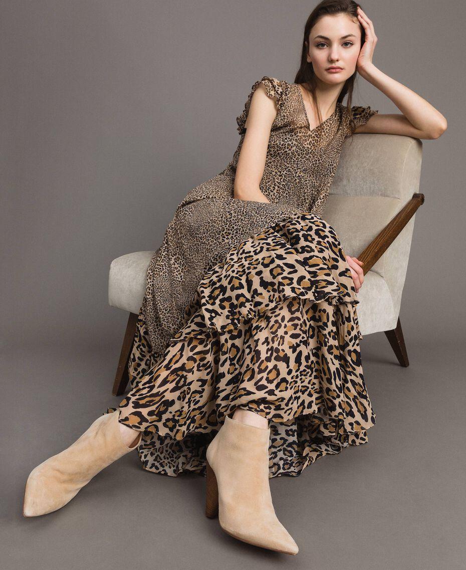 Robe longue en georgette à imprimé animalier Imprimé Animalier Mixte Femme 191TP2724-05