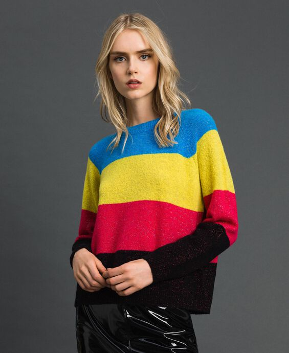 Wool and lurex blend colour block jumper