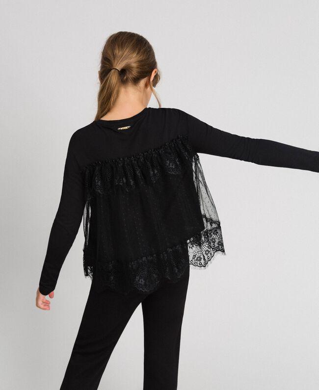 T-shirt avec volants en dentelle et tulle Noir Enfant 192GJ2320-03