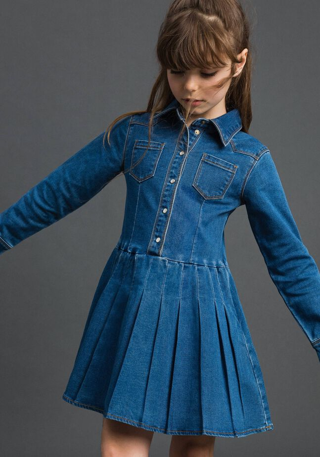 Denim effect shirt dress