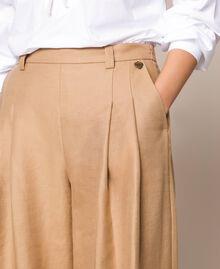 "Linen blend wide trousers ""Dune"" Beige Woman 201TP2257-04"