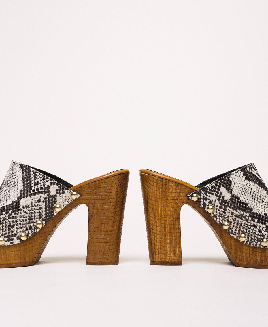 Animal print faux leather sabots White Python Print / Black Woman 201MCT01J-03