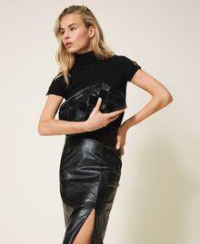 Diamond leather maxi pochette Two-tone Black / Black Diamonds Woman 202TD8033-0S