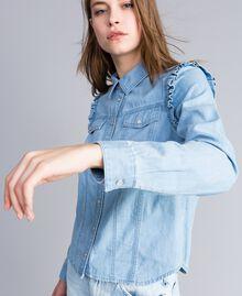 Рубашка из денима с рюшами Синий Деним женщина JA82U4-04