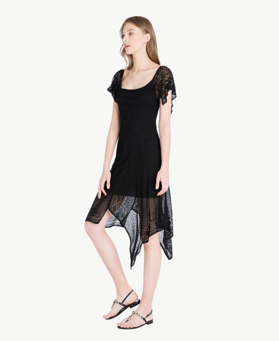 Kleid aus Viskose Schwarz Frau TS83AB-02