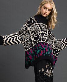 "Wool blend jacquard jumper ""Snow"" White Jacquard/ Black Woman 192TT3160-01"