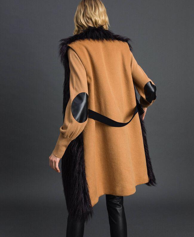 Gilet long en fausse fourrure et drap Noir / Beige «Séquoia» Femme 192ST2031-03