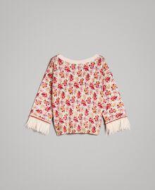 """Pull-cardigan floral avec plumes et strass Imprimé Bouquet Rose """"Bouton De Rose"""" Femme 191TP3415-0S"""