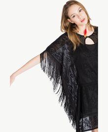 Poncho jacquard Noir Femme TS835D-04