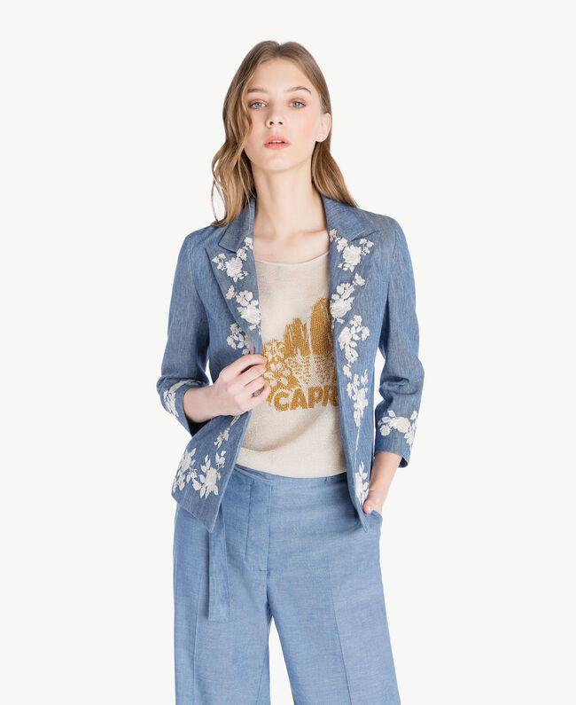 Embroidered jacket Dark Blue Denim Woman TS82BN-01