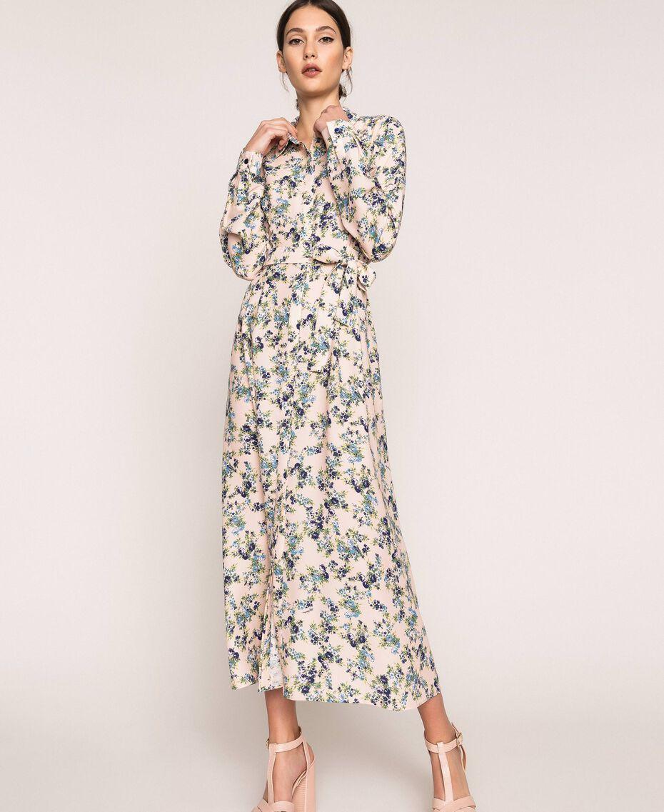 "Long floral shirt dress ""Quartz"" Pink Flowered Print Woman 201MP2371-01"