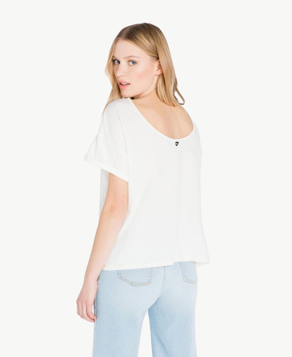Embroidered T-shirt Light Ivory Woman PS82NR-03