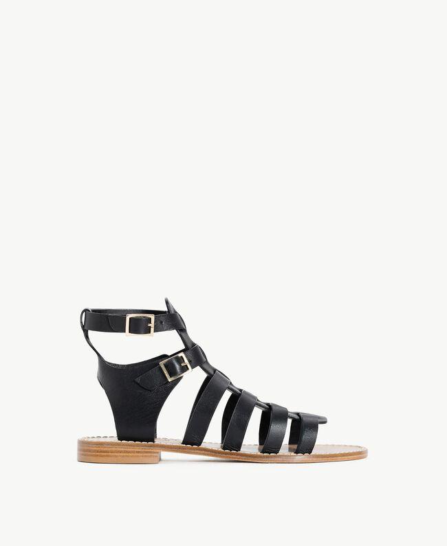TWINSET Sandale aus Leder Schwarz Frau CS8TEE-01