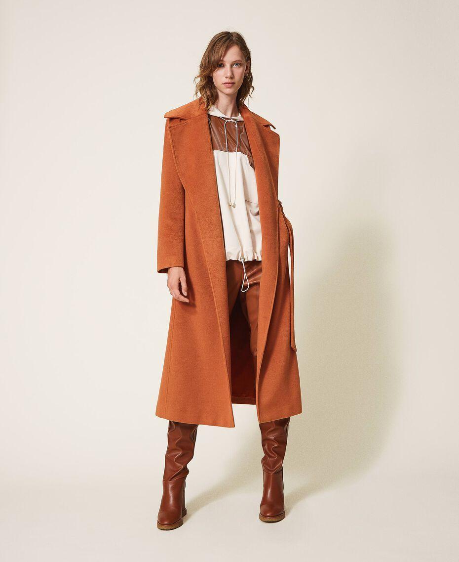 Abrigo largo de paño Rojo Terracota Mujer 202LI2CAA-01