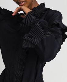 Kleid aus Crêpe de Chine aus Seidenmischung Schwarz Frau 192TP2101-03
