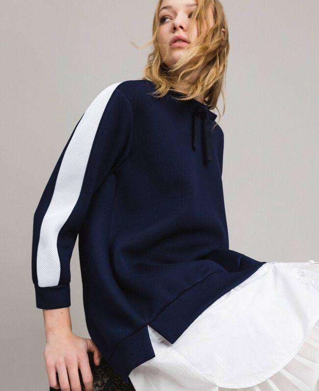 Robe longue plissée en scuba Bicolore Bleu Nuit / Blanc Soie Femme 191TP2066-04