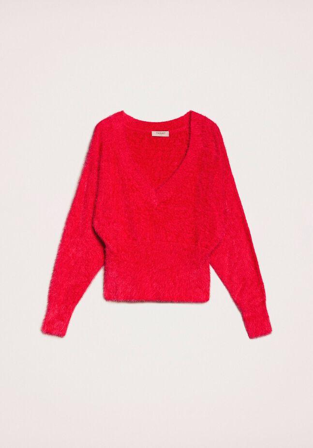Fur effect yarn jumper