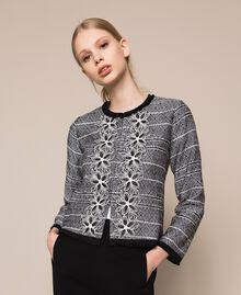 Tweed jacket with embroidery Black Woman 201LB23AA-01