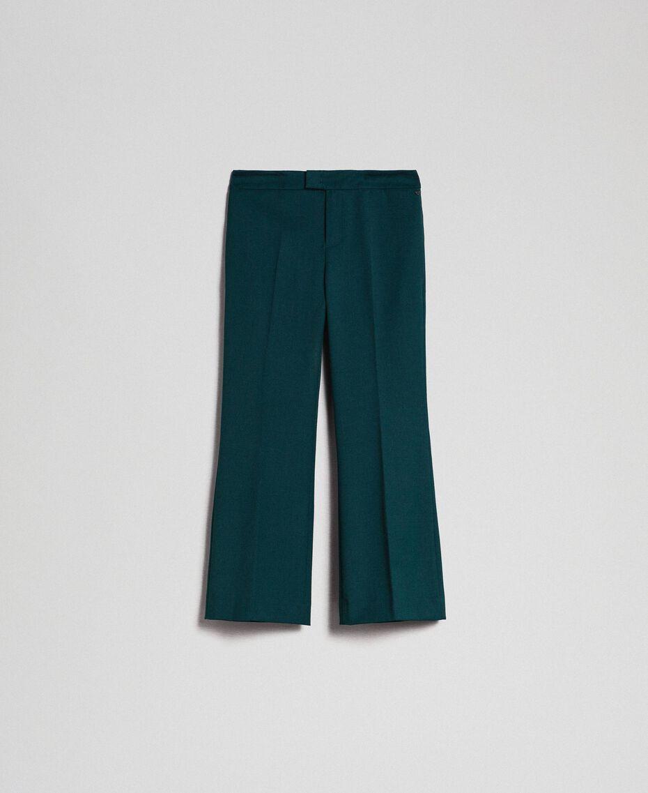 Flare-Fit-Hose aus Wolle Dunkelgrün Frau 192TP2353-0S