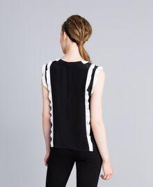 "Silk top with ruches Bicolour Black / ""Snow"" White Woman PA82ES-03"