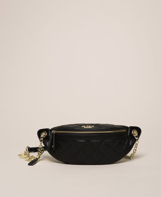 Quilted faux leather belt bag with charms