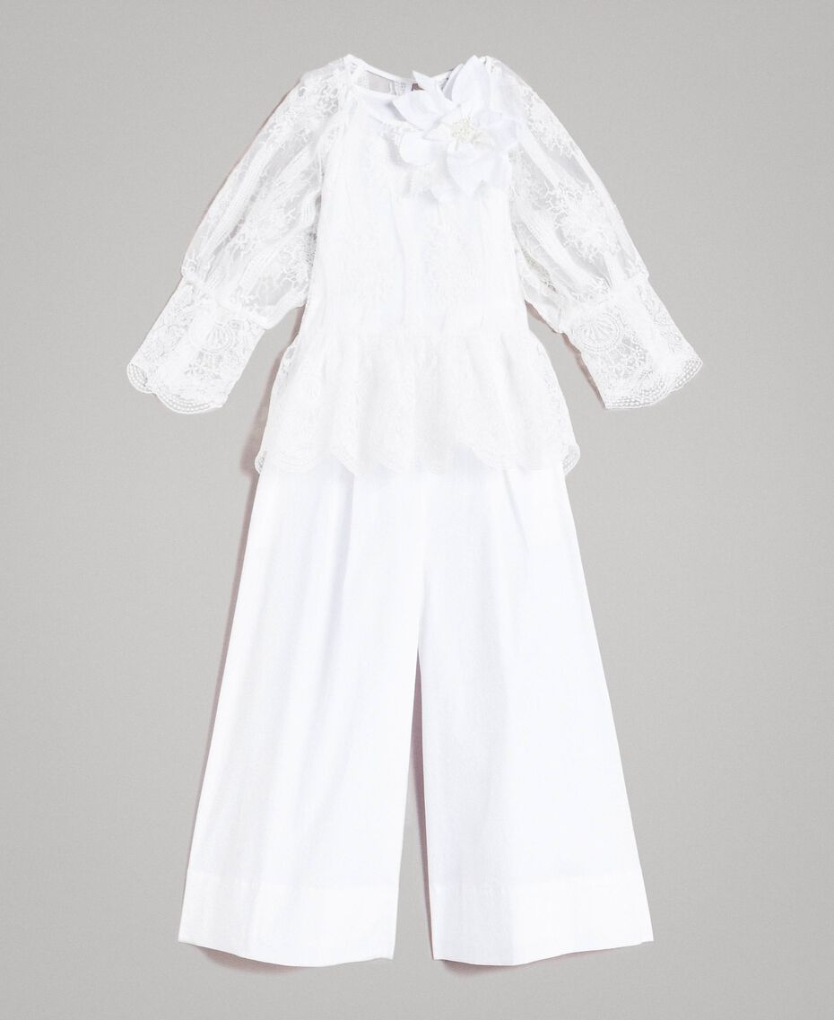 Poplin jumpsuit and organza blouse White Child 191GJ2QB0-01