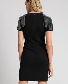 Sheath dress with rhinestone chains Black Woman 192TT3075-03