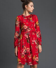 Floral print georgette dress Pomegranate Meadow Print Woman 192TP2752-02