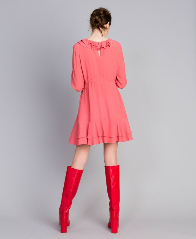 Kurzes Kleid aus Seidenmischung Royal Pink Rosa Frau PA827A-03