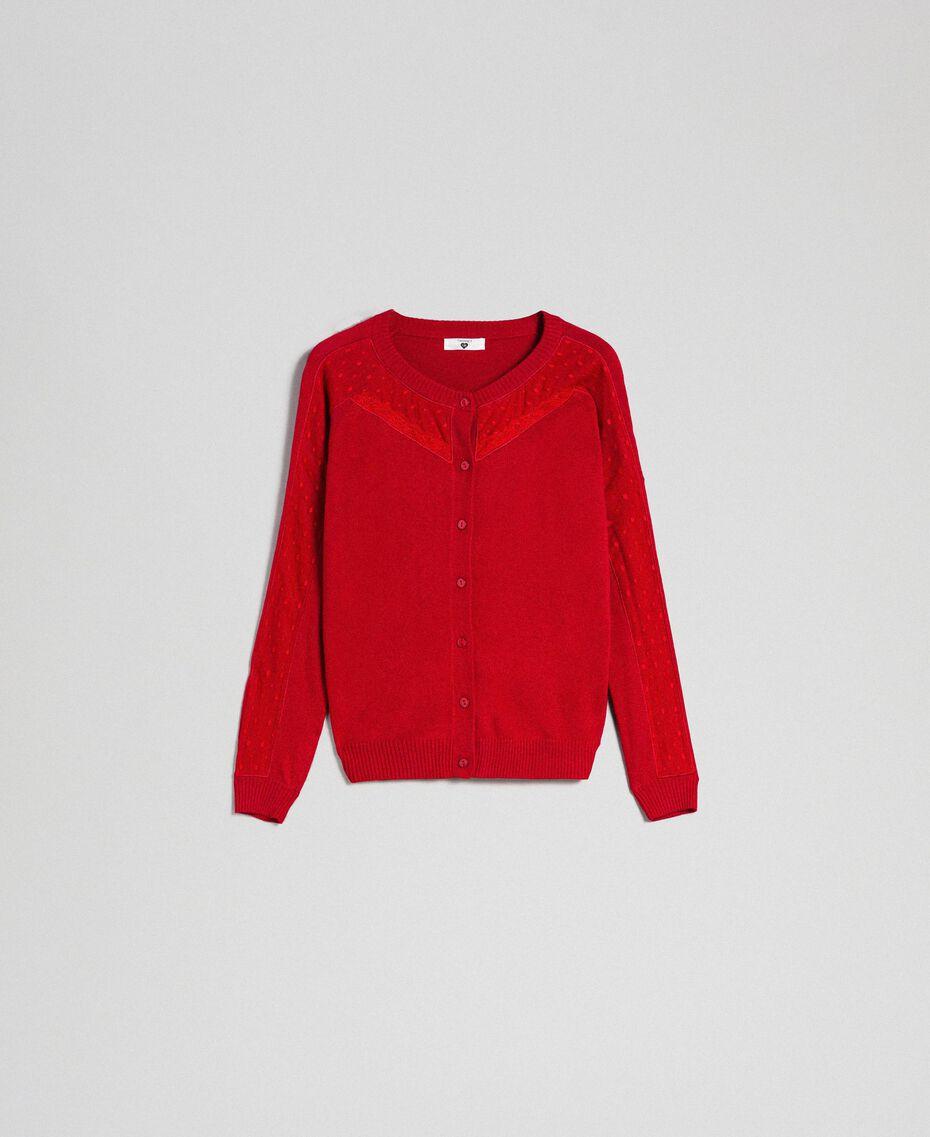 Cardigan en angora mélangé avec tulle et dentelle Rouge Ardent Femme 192LL3CSS-0S
