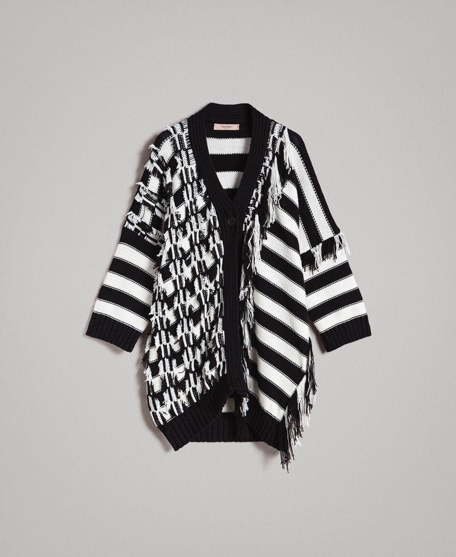 Cardigan oversize en jacquard à rayures Rayure Blanc Neige/ Noir Femme 191TP3014-0S