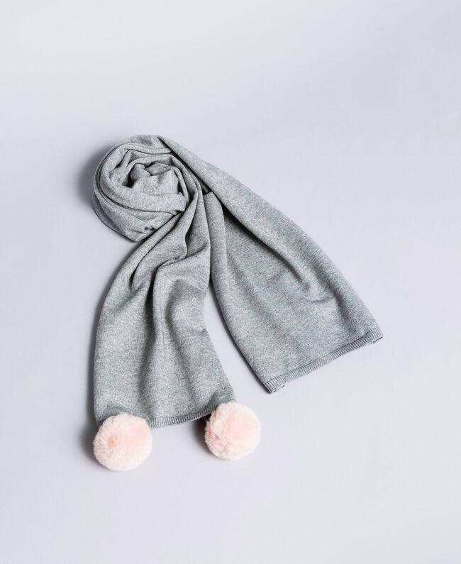 Melierter Schal mit Pompon Dunkelgrau-Mélange Frau LA8ZMM-01