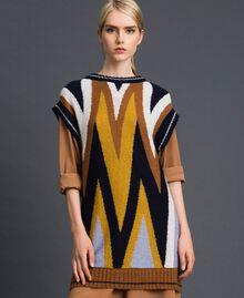 Maxi pull multicolore en laine et mohair Chevrons Bleu Nuit Femme 192ST3111-01