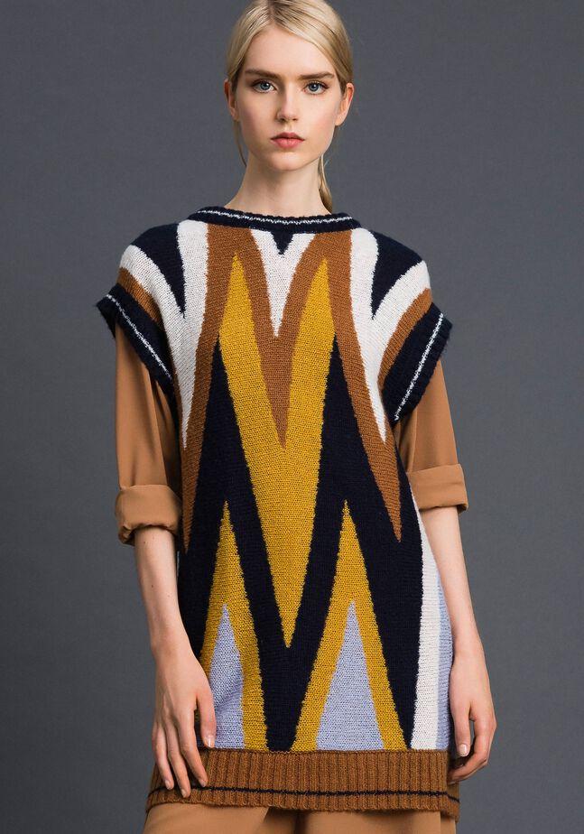 Длинная разноцветная трикотажная кофта из шерсти и мохера