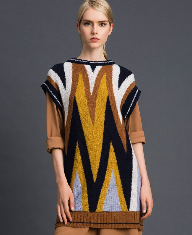 Multicolour wool and mohair maxi jumper Night Blue Chevron Woman 192ST3111-01
