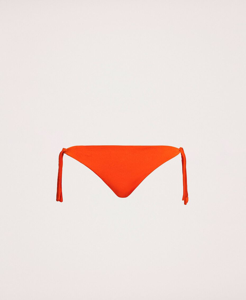 Brazilian bikini bottom with tie-up laces Flirty Rose Print Woman 201LBMC77-0S