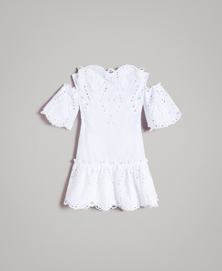 Musselin-Kleid mit Lochstickerei-Verzierung Weiß Kind 191GJ2620-01