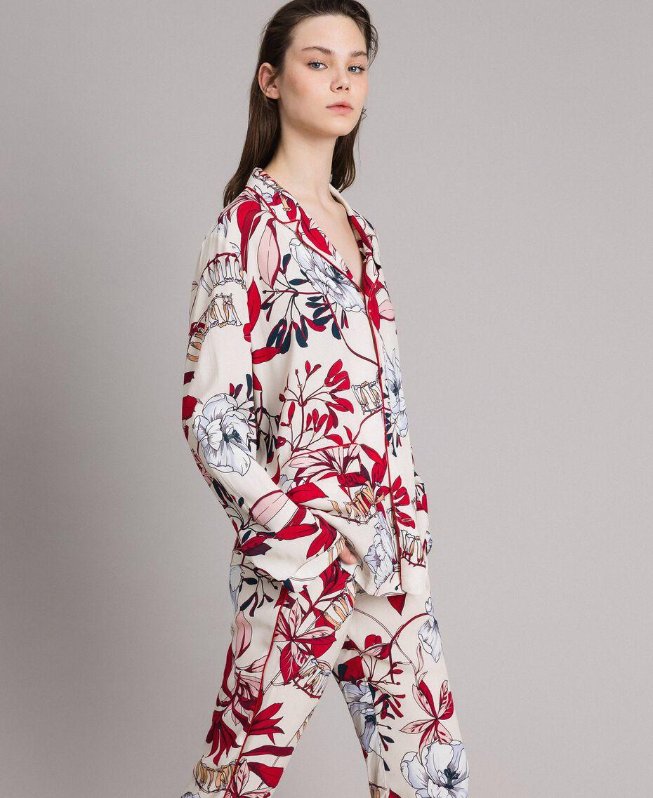 Chemise en crêpe à imprimé floral Imprimé Exotique Écru Femme 191ST2230-02
