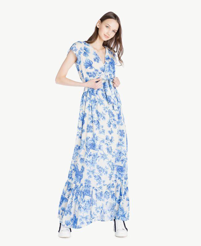 Robe longue imprimée Imprimé Porcelaines Bleu Marine «Pivoine» Femme SS82MR-01