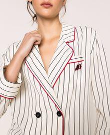 Striped crêpe de Chine shirt Vanilla / Black Stripes Woman 201MP2100-04