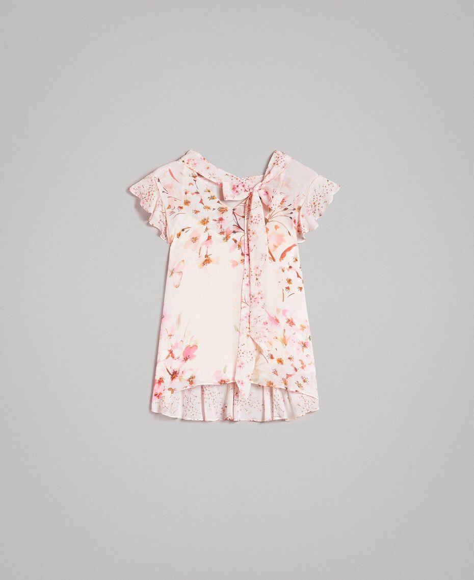 "Georgette-Bluse mit Blumenmuster Motiv ""Blossom / Peach Mix"" Pink Frau 191TP2711-0S"