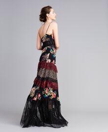 Robe longue en crêpe georgette avec imprimé floral Imprimé Fleur Patch Femme PA82PB-02