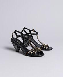 Sandalette aus Leder mit Nieten Schwarz Frau CA8TLA-02