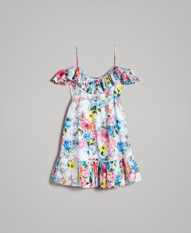 Floral print dress with ruffle and flounce All Over Optical White Multicolour Flowers Print Woman 191MT2290-0S
