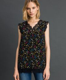 Floral print top with lace Black Micro flower Print Woman 192MP222A-02