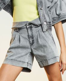 High waist denim shorts Grey Denim Woman 211MT2567-01