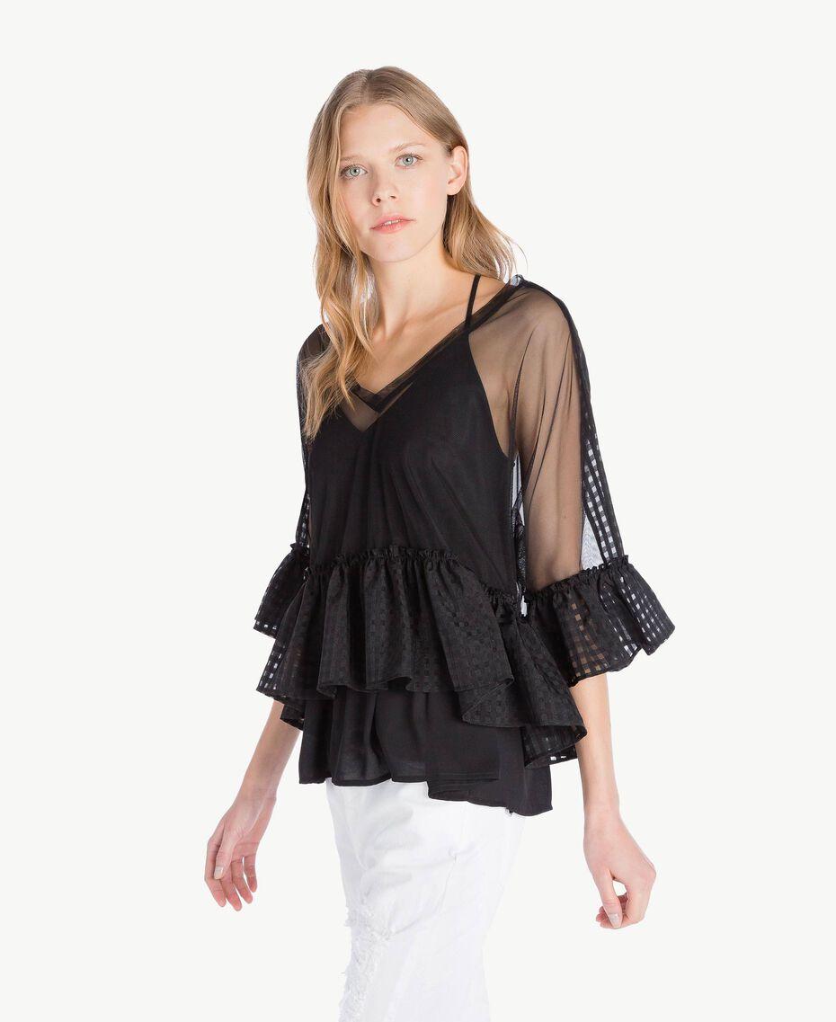 Bluse aus Tüll Schwarz Frau YS82GP-02