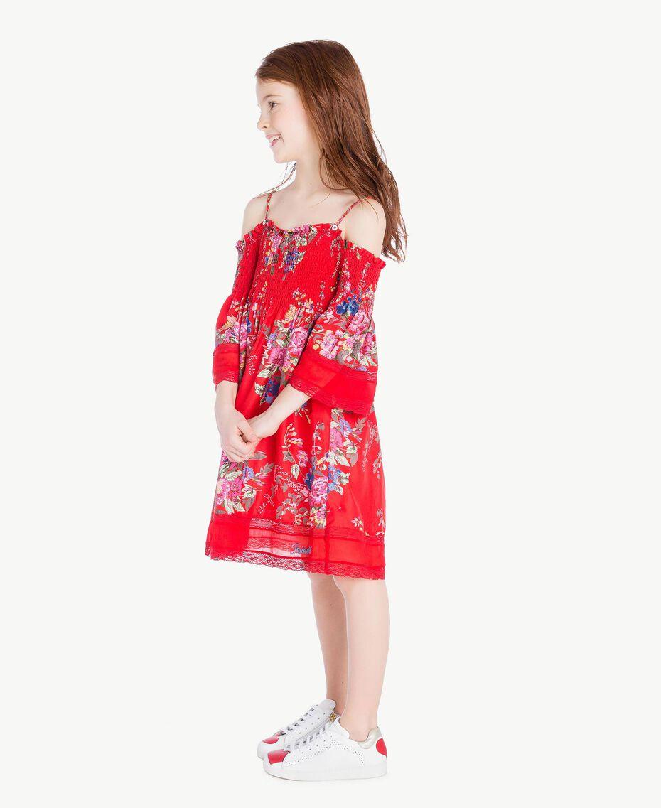 Kleid mit Blumenprint Blumenprint / Granatapfelrot Kind GS82E1-03
