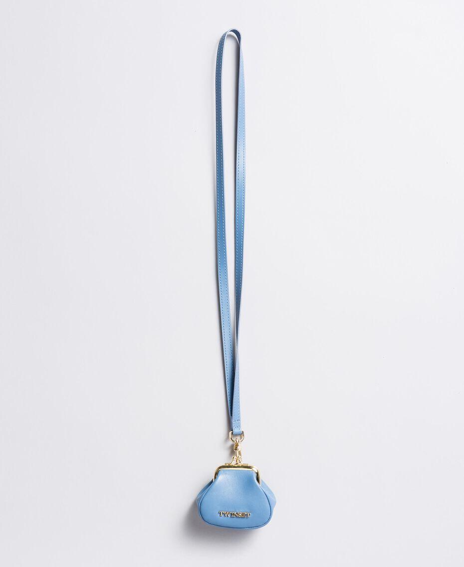 Portamonete in pelle con tracolla Azzurro Infinito Donna AA8PMN-02